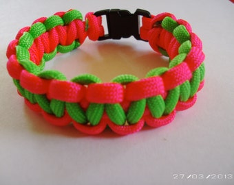Hot pink and Lime Green paracord bracelet