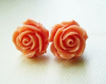 Stud Earrings, Vintage Retro Coral/Peach resin flower earrings No. E148