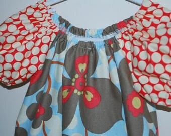 Amy Butler's Morning Glory in Linen & Full Moon Polka Dot in Cherry - Little Girl Peasant Dress