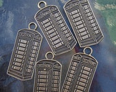Antique bronze telephone booth charms