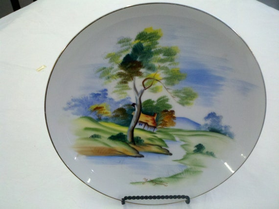 Hand Painted Y Mizutani Decorative Plate