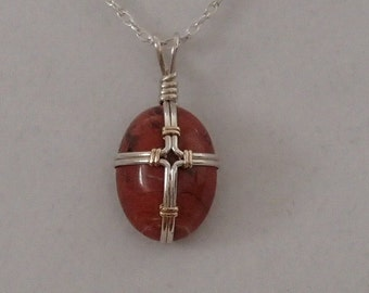Cross Necklace, Red Jasper, and Sterling Silver