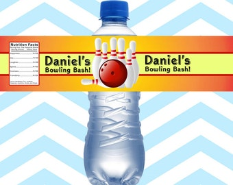 Bowling Water Bottle Labels Personalized, Birthday Water Bottle Wraps