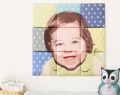 HOLIDAYS SALE - Personalized Portrait / Pop Art Fairy Tiles Wall Pillow - Stars Background