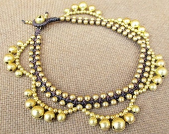 Cascade Anklet Bells with Brass Bead and Bells