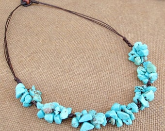 Cluster Turquoise Knot Necklace