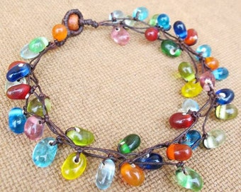 Multi Colour Glass Bead Cluster Ankle Bracelet