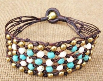 Beaded Turquoise Howlite Net Knot Bracelet with Brass Bead