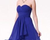 Custom Knee Length Short Chiffon Royal Blue Bridesmaid / Bride / Wedding / Party / Cocktail / Dinner Venue Dress - hollyxholly