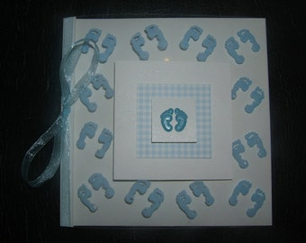 Lovely handmade really unusual personalised personalized New Baby Card boy or girl
