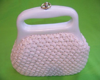 Vintage Woven Purse with Plastic Handles from Japan