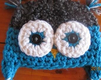 Crocheted Hoot Owl hat.