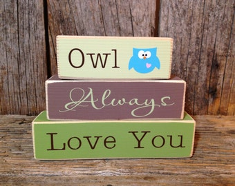Owl Always Love You block, mini stacker, valentines decor, owl sign, owl blocks, love you block, valentine sign