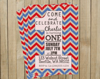 Red and Blue Chevron One First Birthday Invitation, Custom Digital File, Printable