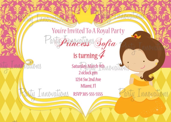 Printable princess belle birthday party invitation plus free blank il570xn filmwisefo