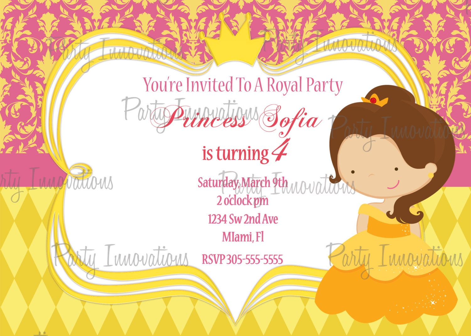 printable princess belle birthday party invitation plus printable princess belle birthday party invitation plus blank matching printable thank you card 128270zoom