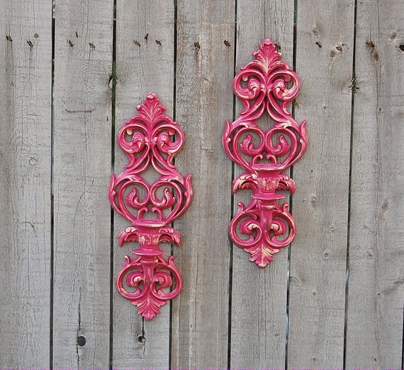 Wall Sconces Shabby Chic : Vintage Shabby Chic Wall Sconces Hot Pink by TheVintageArtistry