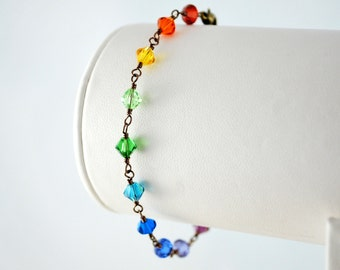 Rainbow Bracelet Swarovski Crystal Bright Colorful Beads Wire Wrapped Fun Antiqued Brass Jewelry
