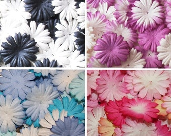 50 Mulberry paper flowers, assorted colours. 2.5cm Card making embellishments