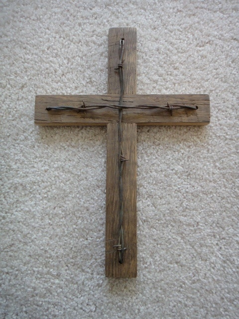 Rustic Barn Wood Cross With Barbed Wire Accent
