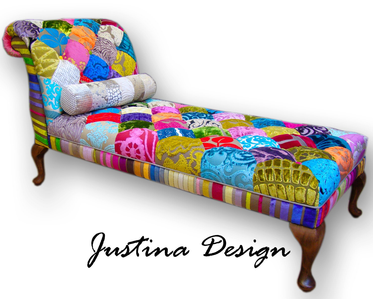 Patchwork chaise longue in designers guild velvets with for Chaise patchwork