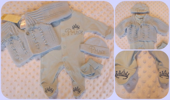 Premature baby prem tiny blue prince clothing outfit set bundle 3-5lbs or 5-8 lbs onesie hat cardigan socks