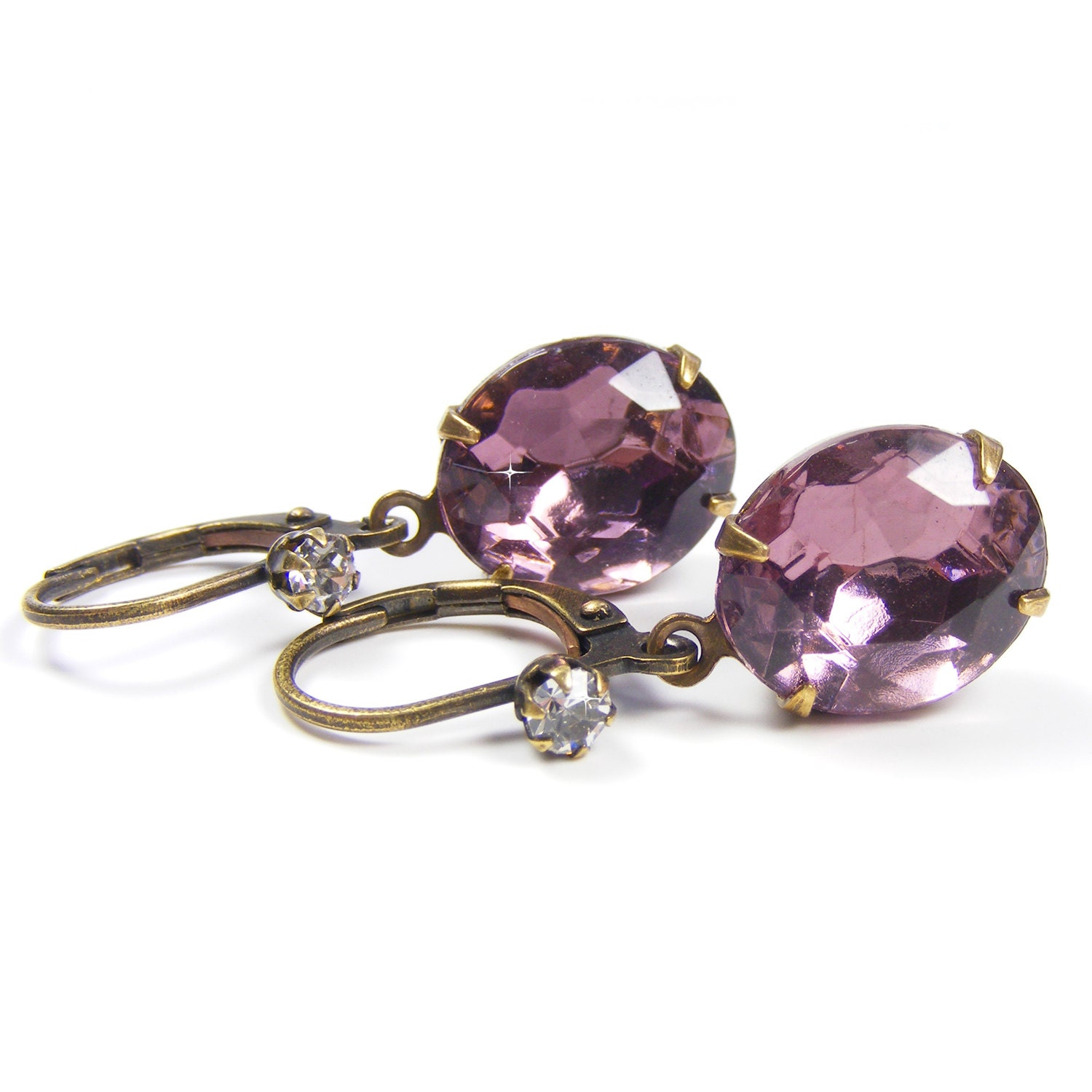 Amethyst Rhinestone Drop Earrings, Genuine 1950s Vintage Crystal Jewels, Great Gatsby Style Vintage Inspired Jewellery