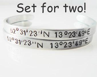 coordinate bracelet set of 2 hand stamped longitude latitude bracelets personalized aluminum cuff Location cuff Valentine's Day Gift