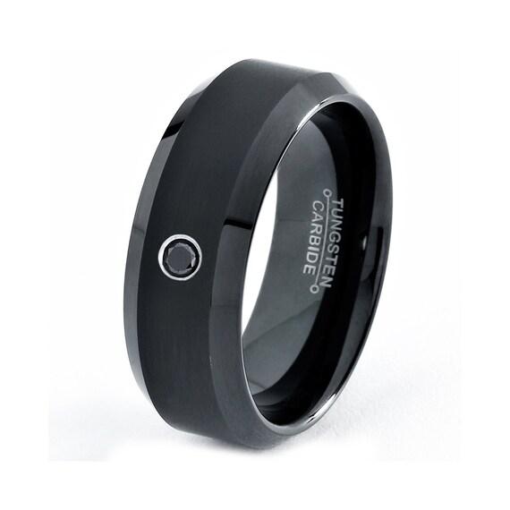 mens tungsten carbide wedding band ring 8mm black diamond enamel