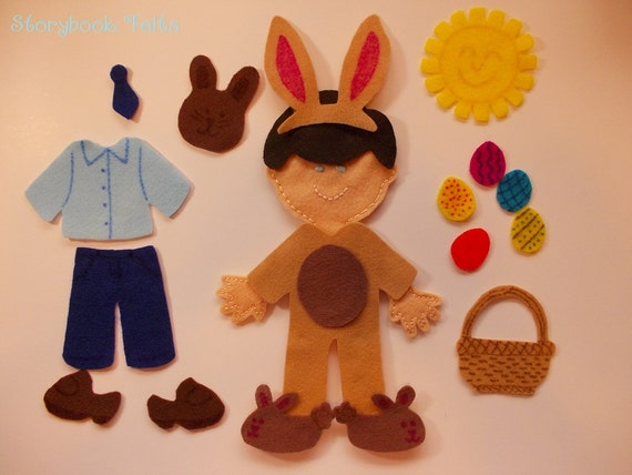 Storybook Felts Felt My Little Easter Boy Doll Dress Up Set 19PCS Paper Doll