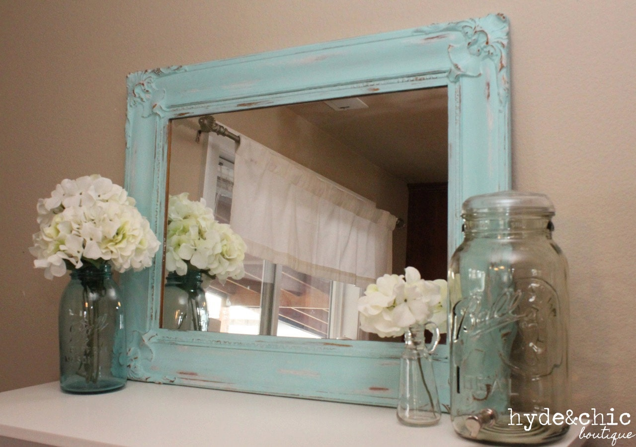 shabby chic decor distressed large mirror baker city. Black Bedroom Furniture Sets. Home Design Ideas