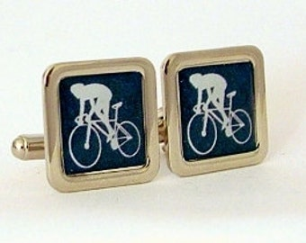 Road Race Cyclist Cufflinks from an original graphic image