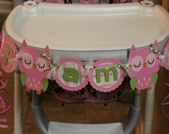 "Owl Birthday Party Highchair Banner: ""I am 1"""