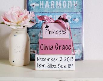 3- Block Stack- Princess Baby Girl Custom-Name Birth Blocks-Birth Announcement-Country Decor-Shabby-Baby Gift