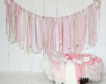 Pink Fabric Banner, Burlap, Lace, Linen, Pink, Shabby Chic, Rag Tie Garland, Photo Prop, Wedding, Bridal Shower, Custom, Nursery
