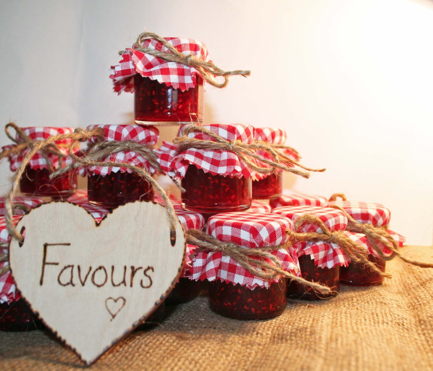 DIY Jam Jar Wedding Favours With Red Gingham Fabric Covers
