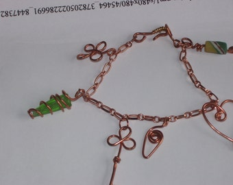 Wire wrapped copper charm bracelet