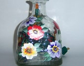 Patron Tequila Hand Painted Decanter Lamp Colored Flowers Upcycled Original Art Home Decor Gift Apt Condo Dorm Bar Vintage