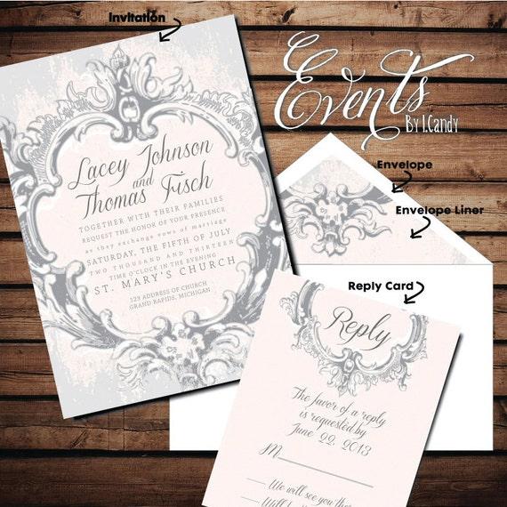 French Vintage Wedding Invitations: PRINTED Wedding Invitation