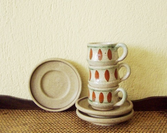 Vintage ceramic coffee cups, rustic, ceramic Greek coffee cups, set of three, mid seventies