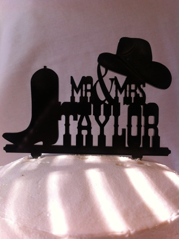 Western Wedding Cake Topper Boot and Hat Cake Topper Cowboy