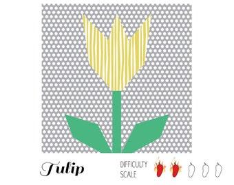 Tulip paper pieced quilt pattern in PDF