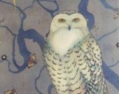 Jupiter ( Snow Owl Stargazing in Moonlight) - limited edition print of original mixed media painting