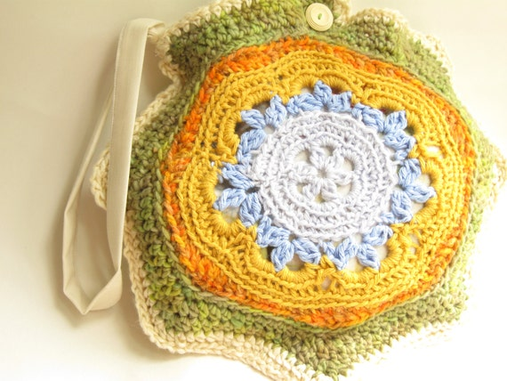 Crochet Boho Bag : boho clutch purse, crochet purse bag, mandala, eco friendly natural ...
