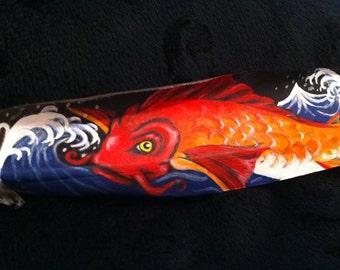 Orange Koi Fish Feather Painting
