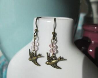 Antique Bronze Pink Swarovski Crystal Bird Earrings by The Darling Duck