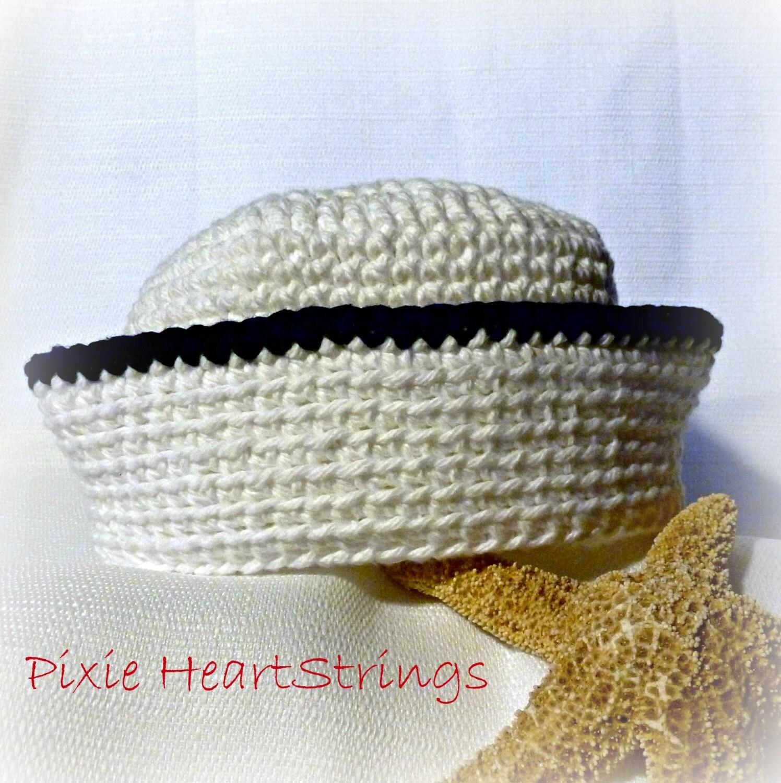 Free Crochet Pattern Newborn Sailor Hat : Sailor Hat. Baby Sailor Hat. Crocheted Sailor Hat. Infant