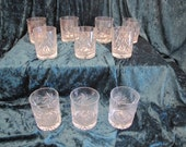 Vintage 1970's Czech / Bohemian Cut Crystal Whiskey Glasses with Pinwheel Pattern