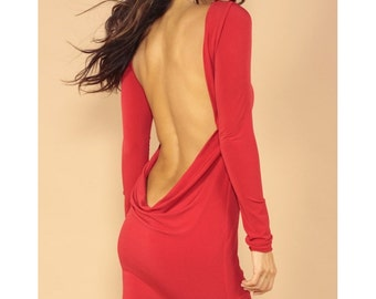 Red Classic backless dress