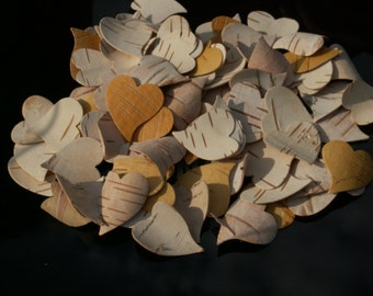 200 Heart Confetti - Birch Bark Heart Confetti.